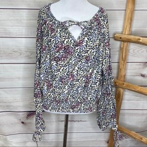 Lucky Brand Floral Peasant Tie Blouse Large
